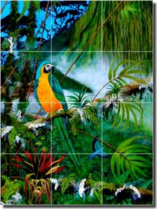 "Hadjis Tropical Parrot Glass Tile Mural 18"" x 24"" - MHA002"