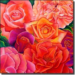 "Hadjis Roses Floral Glass Accent Tile 6"" x 6"" - MHA004AT"