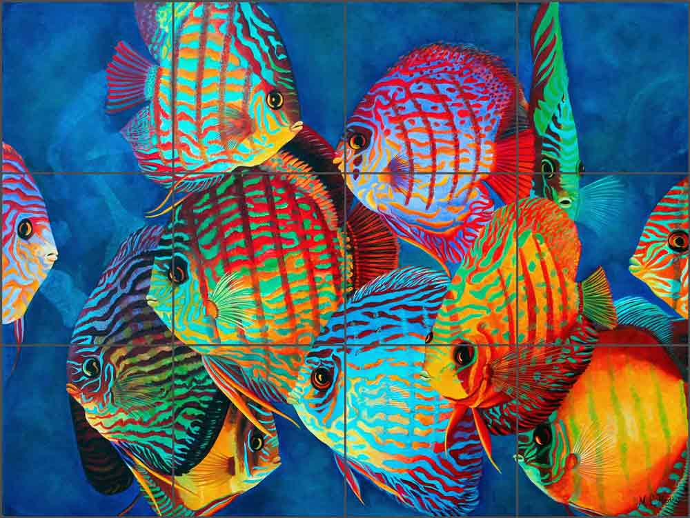 Curious Discus by Micheline Hadjis Ceramic Tile Mural MHA021