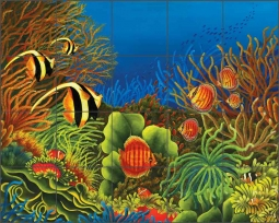 Marvel of the Oceans by Micheline Hadjis Ceramic Tile Mural MHA034