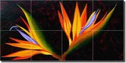 "Hadjis Bird of Paradise Floral Glass Tile  Mural 24"" x 12"" - MHA035"