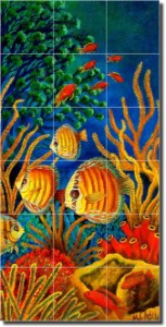 "Three Amigos by Micheline Hadjis - Artwork On Tile Ceramic Tile Mural 36"" x 18""  Kitchen Shower Back"