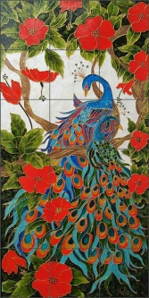 Peacock Lovers by Micheline Hadjis Ceramic Tile Mural MHA041