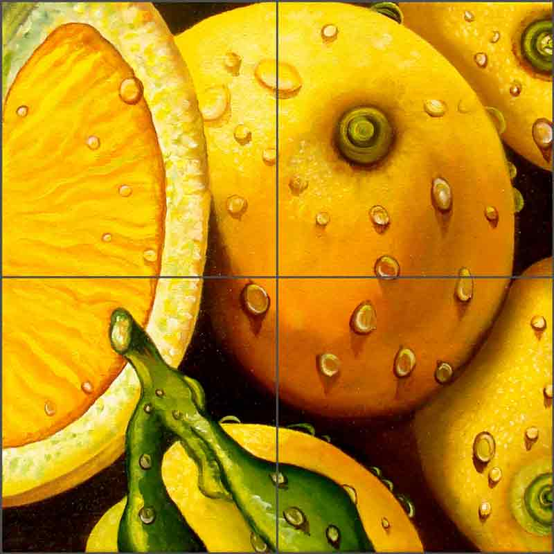 Lemons by Micheline Hadjis Ceramic Tile Mural MHA044