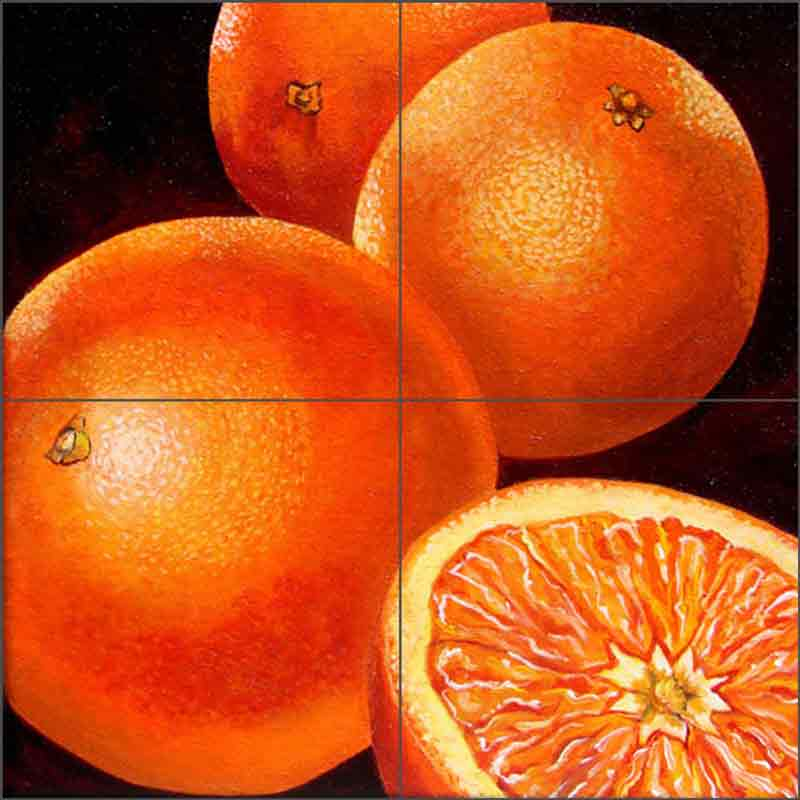 Oranges by Micheline Hadjis Ceramic Tile Mural MHA045