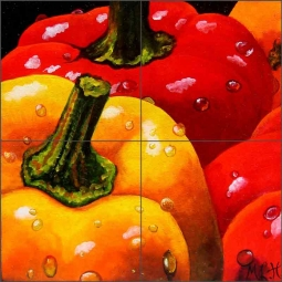 Peppers by Micheline Hadjis Ceramic Tile Mural MHA046