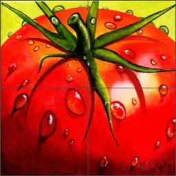 Tomatoes by Micheline Hadjis Ceramic Tile Mural MHA047