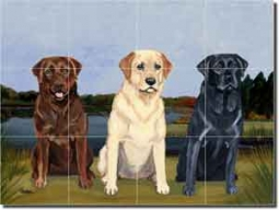 "3 Labs by M. K. Zeppa - Dog Ceramic Tile Mural 12.75"" x 17"""
