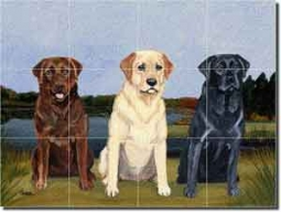 "3 Labs by M. K. Zeppa - Dog Glass Tile Mural 24"" x 18"""