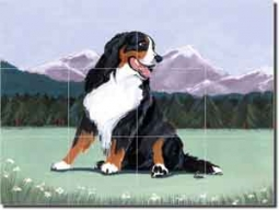 "Burmese Mountain Dog by M. K. Zeppa -  Ceramic Tile Mural 12.75"" x 17"""