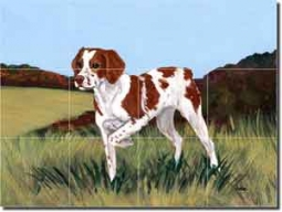 "Brittany by M. K. Zeppa - Dog Ceramic Tile Mural 12.75"" x 17"""