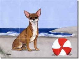 "Chihuahua at the Beach by M. K. Zeppa - Dog Ceramic Tile Mural 12.75"" x 17"""