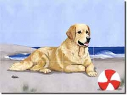 "Zeppa Golden Retriever Dog Ceramic Tile Mural 17"" x 12.75"" - MKZ006"