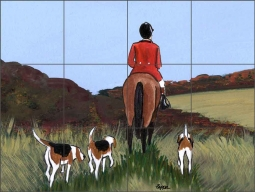 Hunt Scene by M. K. Zeppa Ceramic Tile Mural - MKZ009