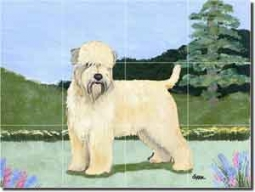 "Zeppa Wheaten Terrier Dog Ceramic Tile Mural 17"" x 12.75"" - MKZ012"