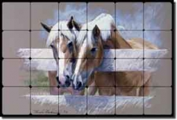 "McDonald Horse Equine Tumbled Marble Mural 24"" x 16"" - MMA001"