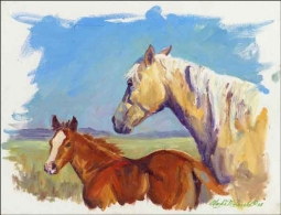 Palomino and Foal by Marsha McDonald Ceramic Accent & Decor Tile - MMA002AT