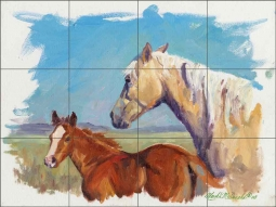 Palomino and Foal by Marsha McDonald Ceramic Tile Mural MMA002