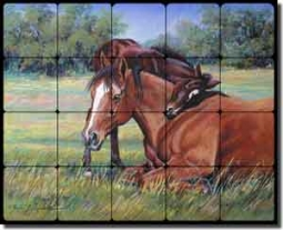 "McDonald Horses Equine Tumbled Marble Tile Mural 20"" x 16"" - MMA003"