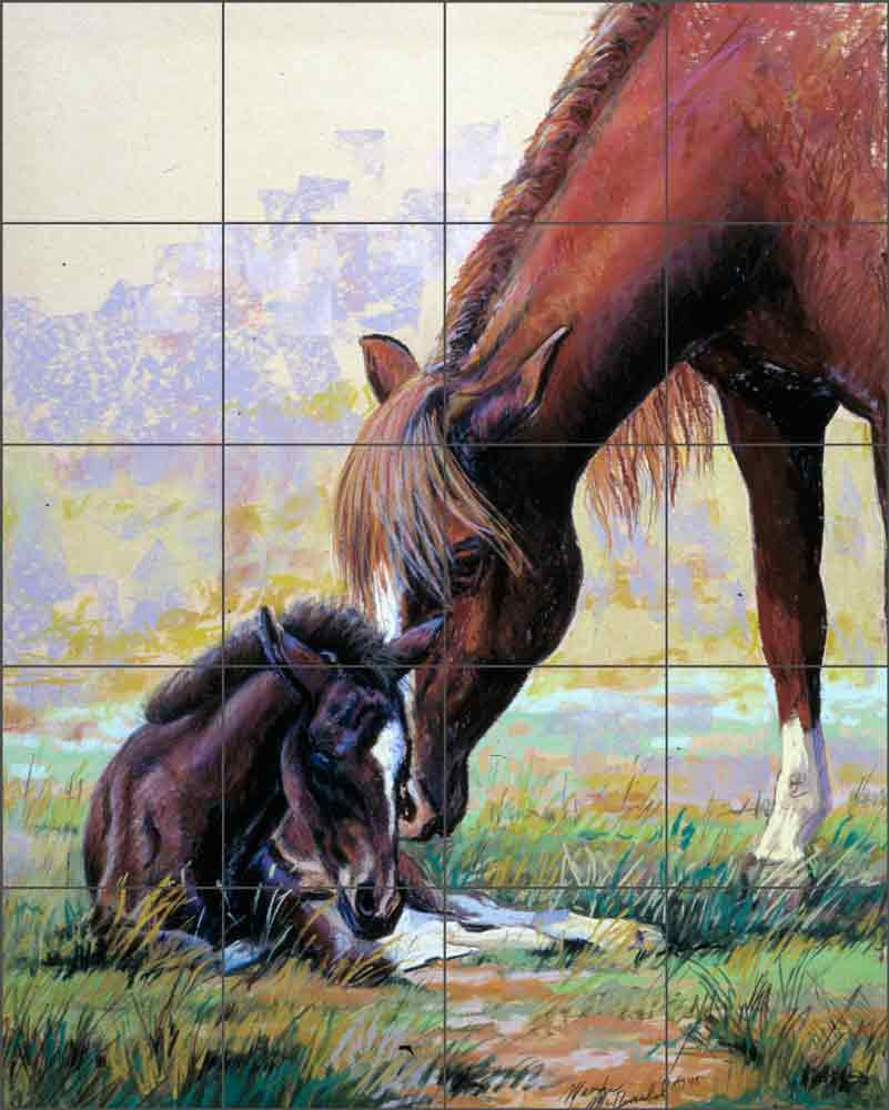 Peruvian Mare and Foal by Marsha McDonald Ceramic Tile Mural MMA005