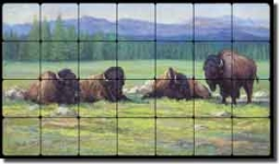 "McDonald Animal Buffalo Tumbled Marble Mural 28"" x 16"" - MMA006"