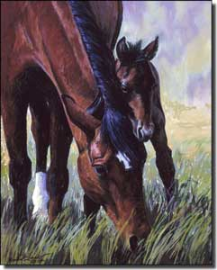 "McDonald Horse Fawn Ceramic Accent Tile 8"" x 10"" - MMA009"