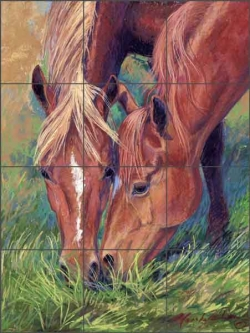Lunch with a Friend by Marsha McDonald Ceramic Tile Mural - MMA019
