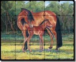"McDonald Horses Equine Tumbled Marble Tile Mural 20"" x 16"" - MMA020"