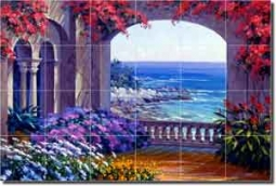 "Senkarik Courtyard Seascape Glass Tile Mural 36"" x 24"" - MSA002"