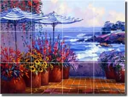 "Senkarik Coastal Seascape Glass Tile Mural 24"" x 18"" - MSA003"