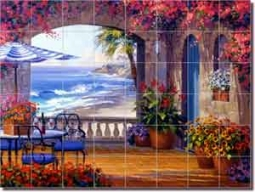"Echo of Romance by Mikki Senkarik - Seascape Ceramic Tile Mural 48"" x 36"""