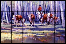 Bringing in the Upcountry by Mikki Senkarik Tumbled Marble Tile Mural - MSA029