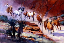 Coming Through the Canyon by Mikki Senkarik Ceramic Tile Mural - MSA030