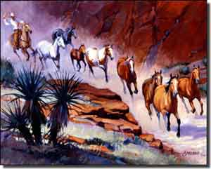 "Senkarik Western Horses Ceramic Accent Tile 10"" x 8"" - MSA030AT"