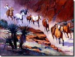 "Senkarik Western Horses Ceramic Accent Tile 8"" x 6"" - MSA030AT"