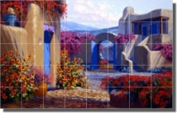"Secluded Garden by Mikki Senkarik - Southwest Landscape Tumbled Marble Mural 16"" x 24"" Kitchen Showe"