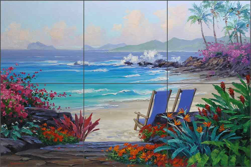 Escape to the Islands by Mikki Senkarik Ceramic Tile Mural MSA066