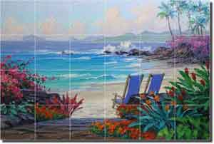 "Senkarik Tropical Seascape Glass Tile Mural 36"" x 24"" - MSA066"