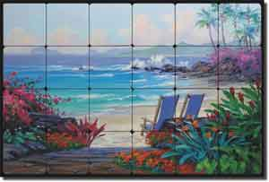 "Senkarik Tropical Seascape Tumbled Marble Tile Mural 24"" x 16"" - MSA066"