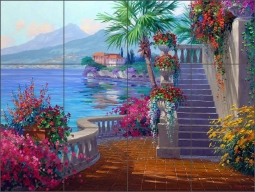 Romance of Lake Como by Mikki Senkarik Ceramic Tile Mural - MSA067