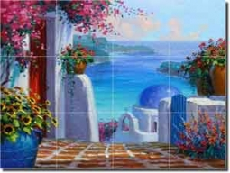 "Memories of Greece by Mikki Senkarik Glass Tile Mural 24"" x 18"" - MSA070"