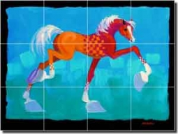 "Senkarik Children's Horse Art Ceramic Tile Mural 24"" x 18"" - MSA071"