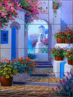 Santorini Song by Mikki Senkarik Ceramic Tile Mural - MSA074