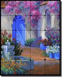 "Senkarik Courtyard Fountain Tumbled Marble Tile Mural 16"" x 20"" - MSA083"