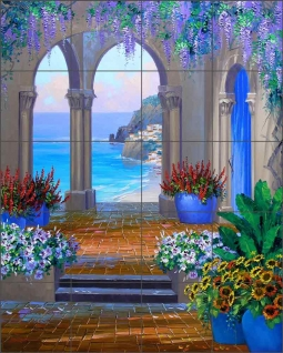 Whispering Arches by Mikki Senkarik Ceramic Tile Mural MSA085