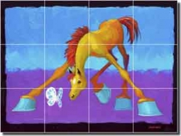 "Senkarik Children's Horse Art Ceramic Tile Mural 24"" x 18"" - MSA092"
