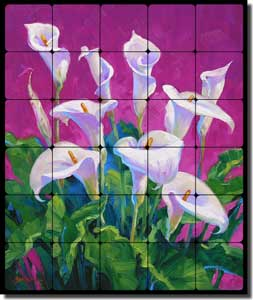 "Calla Lily Floral Tumbled Marble Tile Mural 20"" x 24"" - MSA111"