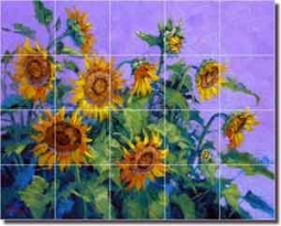 "Senkarik Sunflower Floral Glass Tile Mural 30"" x 24"" - MSA114"