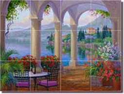 "Essence of Romance by Mikki Senkarik Glass Tile Mural 24"" x 18"" - MSA116"