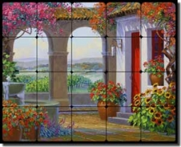 "Senkarik Courtyard Vineyard Tumbled Marble Tile Mural 20"" x 16"" - MSA123"